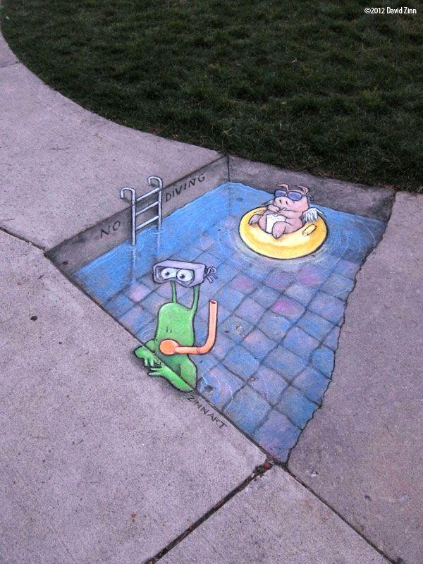 Chalk-drawn Adventures of Sluggo by David Zinn.