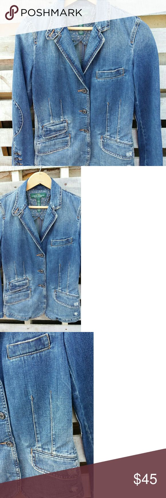 """Ralph Lauren-LRL-Lauren Jean's Co. Denim Blazer """"Like New"""" Awesome distressed LRL Ralph Lauren 100 % denim fitted blazer. 3 button front. 4 button cuffs with patched elbow sleeves. Front flap and Ticket pockets. Left breast welt pocket. Back kick out pleat. Ralph Lauren Jackets & Coats Blazers"""