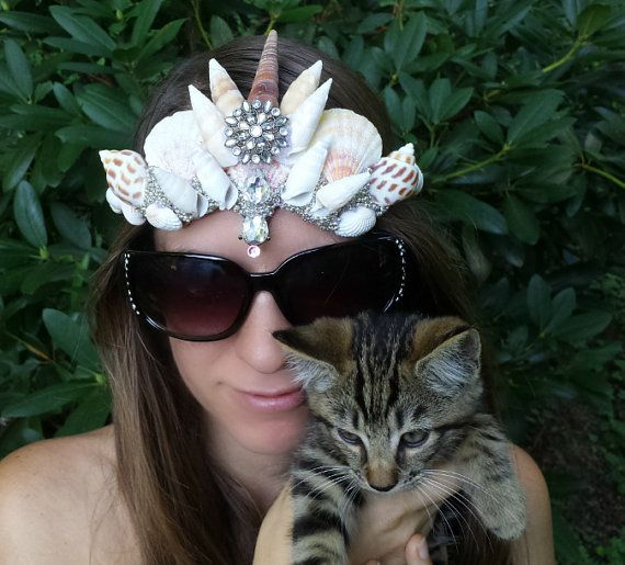 Crystal mermaid crown seashell crown crystal by dieselboutique