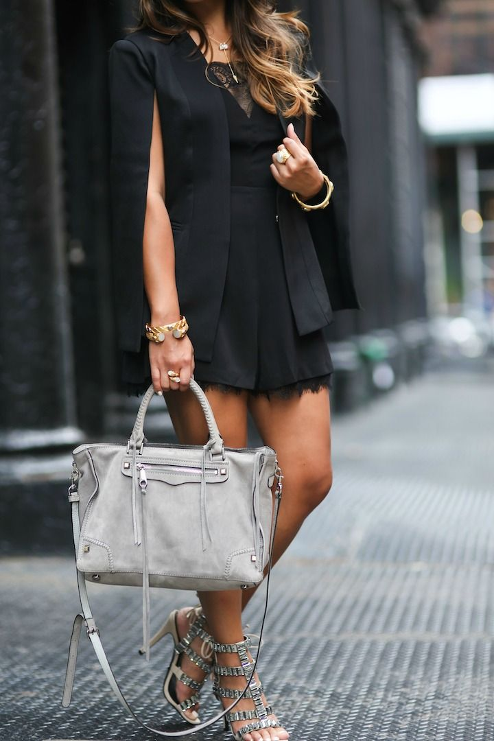 haute off the rack, Rebecca Minkoff Regan Satchel, Rebecca Minkoff handbags, schutz paloma heels, black romper, women's fashion, new york fashion week, street style, cape blazer, fall outfit,