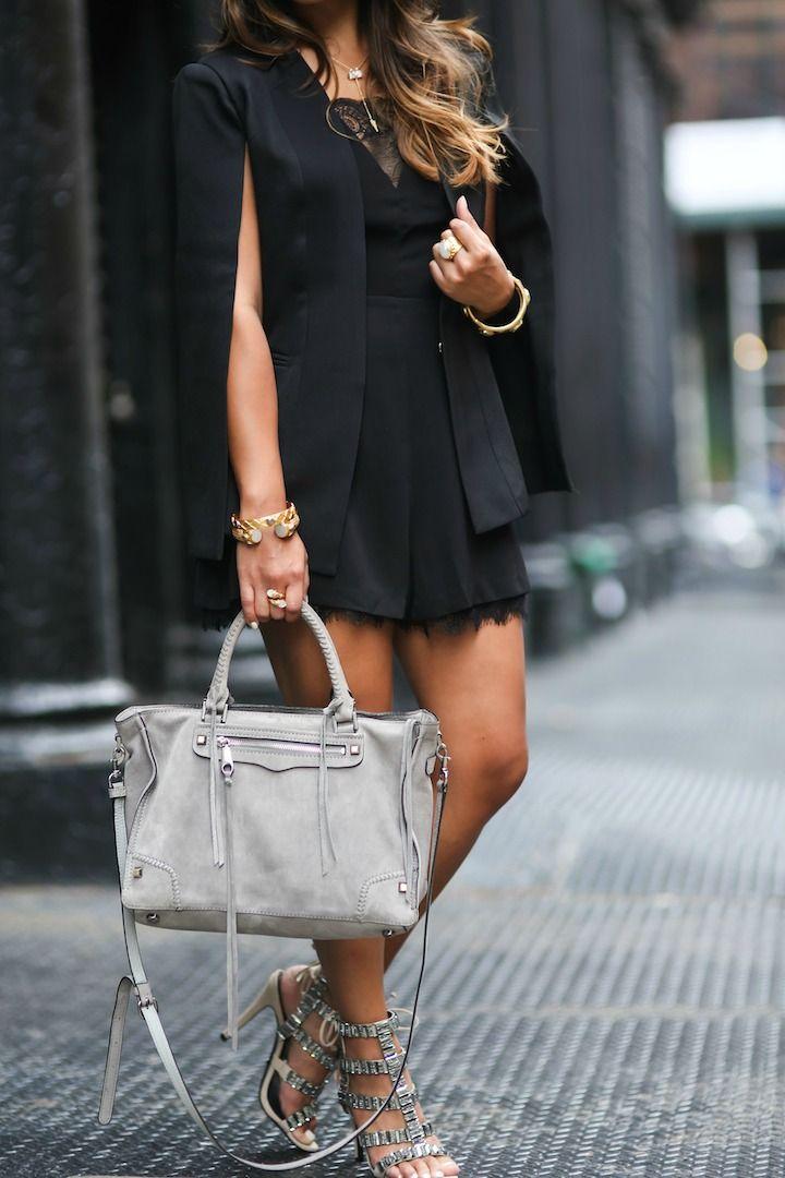 haute off the rack, Rebecca Minkoff Regan Satchel, Rebecca Minkoff handbags, schutz paloma heels, black romper, women's fashion, new york fashion week, street style, cape blazer, fall outfit,