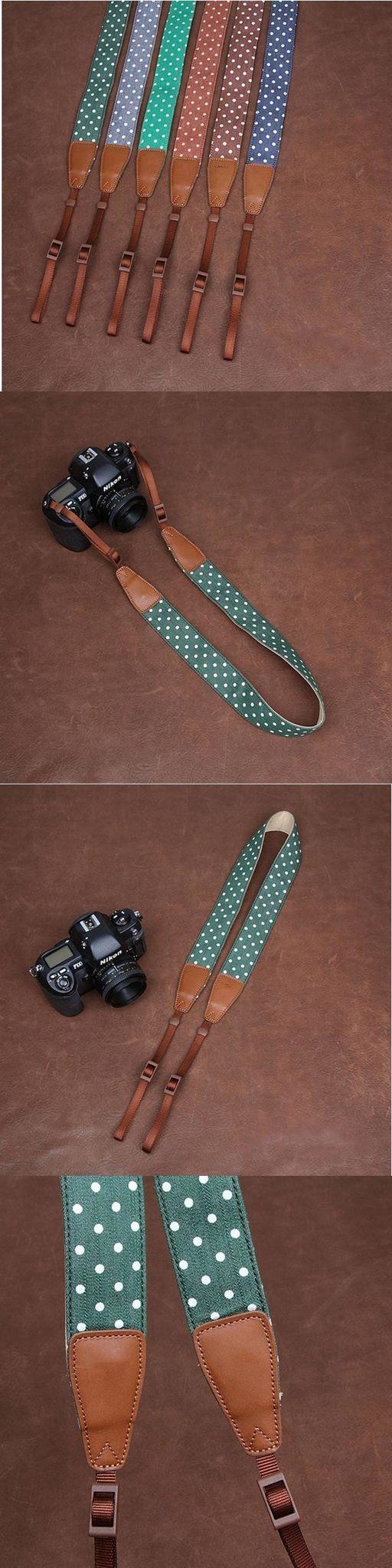 White lovely dot Handmade Leather DSLR Camera Strap Canon/Nikon Camera Strap 7177 by i-cam
