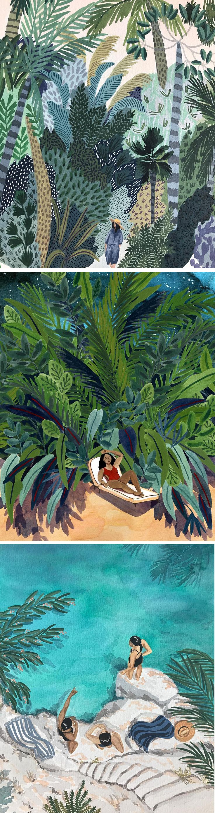 Summer illustrations by Angela McKay // gouache paintings // outdoor paintings