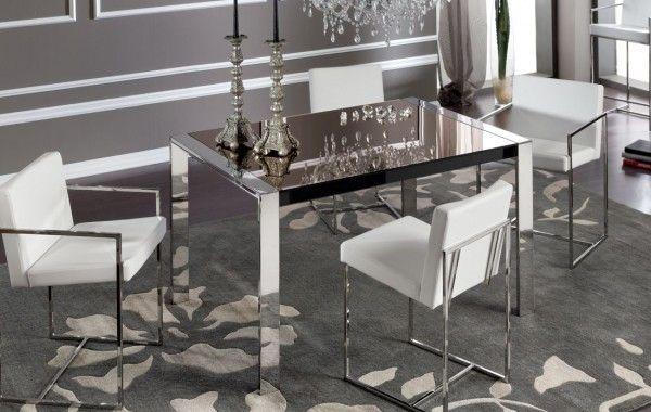 Tavolo in metallo con piano in cristallo – allungabile – Art.5504/V