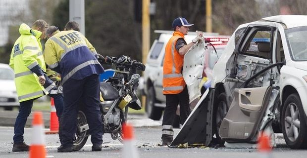 The motorcyclist has suffered extremely serious injuries after a police pursuit. Photo/Ben Fraser