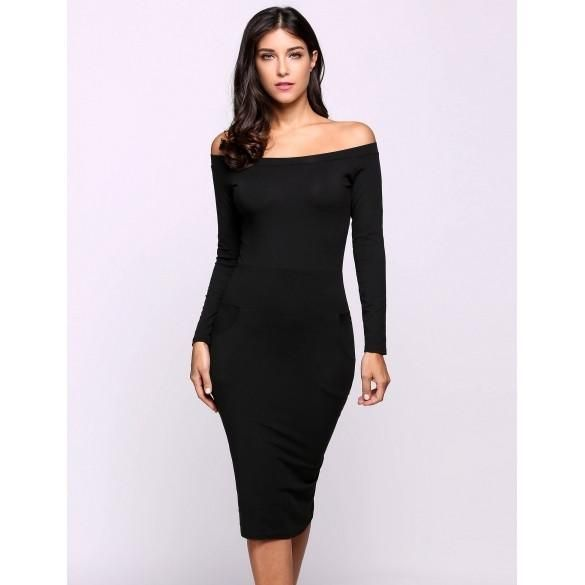 Off The Shoulder Long Sleeve Clubwear Bodycon Solid Pencil Dress