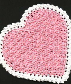 Textured Heart Kitchen Set--free patterns for potholder, hot pad, and dishcloth; Valentine's
