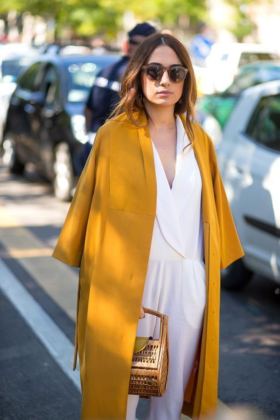 Ochre kimono style jacket, team with a white playsuit for an effortless look
