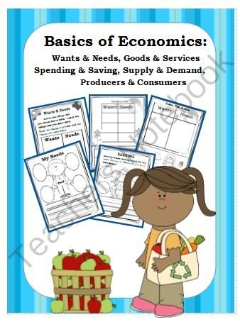 ECONOMICS-Kindergarten/1st -Activities & Signs Goods/Services & Much More from First Grade Shashay on TeachersNotebook.com -  (34 pages)  - This 34-page ELA/SS unit has everything you need to introduce the basics of economics to your students! It includes wants, needs, goods, services, consumers producers, earning, saving, spending, supply, and demand.   Simply print the unit as a student pac