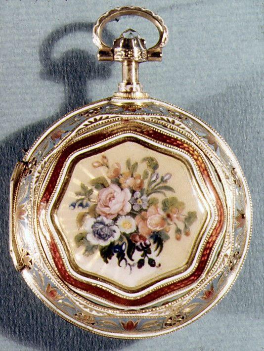 Regency-era Repeating Watch Watchmaker: George Prior  (active 1800–1830) Date: ca. 1812–13 Culture: British, London Medium: Gold, enamel Dimensions: Diam. 1-7/8 in. (4.8 cm) Metmuseum.org