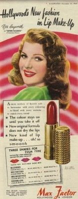 Image detail for -1947 Max Factor Hollywood Make-Up Advert - Vintage Advertising Posters ...