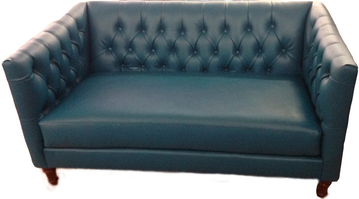 Custom Vinyl Button Pulled Loveseat #loveseat #sofa #vinylloveseat #customfurniture #furniture #tealsofa