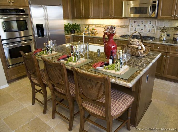 #Kitchen Idea Of The Day: A Nice Walnut Colored Kitchen With Island Sink Part 59