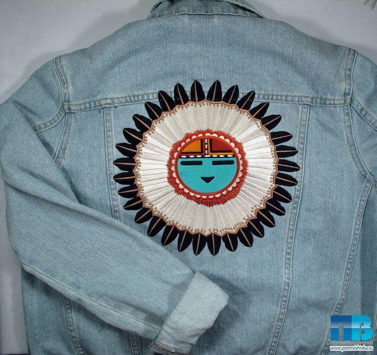 Машинная вышивка на джинсовке для FLASHIN'
