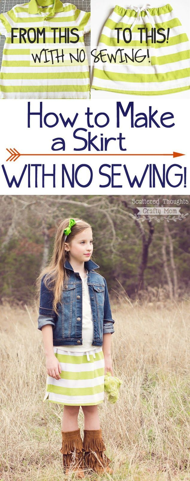 Learn how to make a skirt with no sewing!