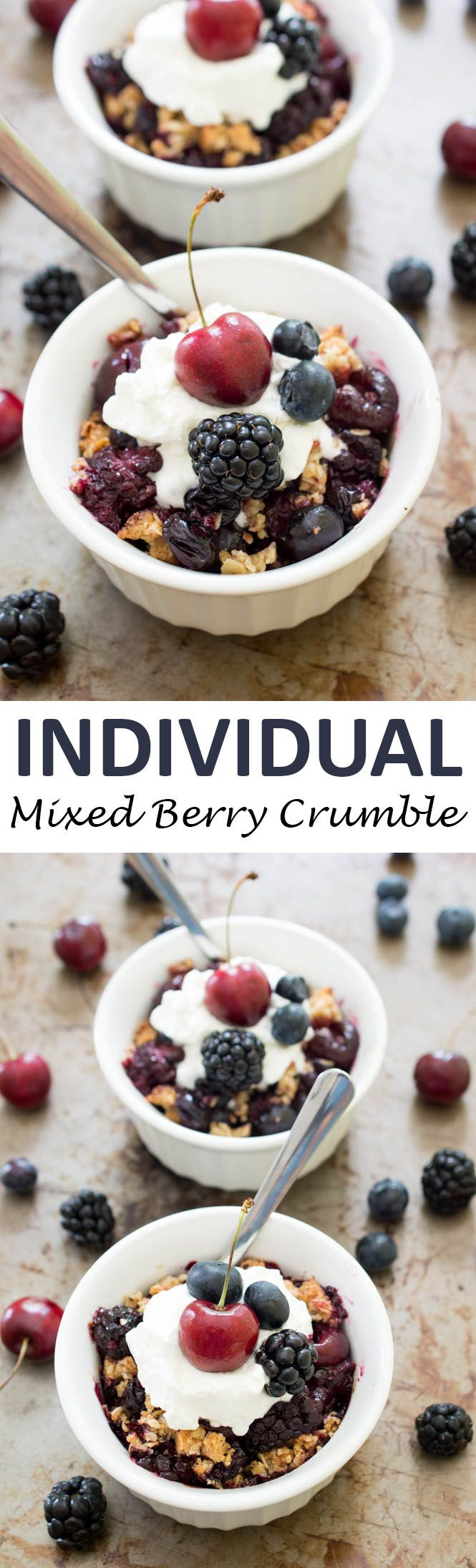 Individual Mixed Berry Crisp loaded with fresh cherries, blackberries and blueberries. A super easy and healthy dessert! | chefsavvy.com #recipe #crisp #berry