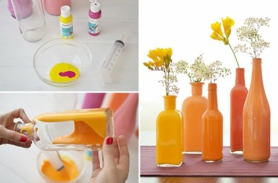vases colorés DIY