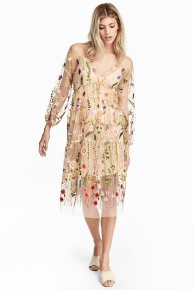 Embroidery One Piece - Powder Beige / Floral - Women's | H & M JP 1