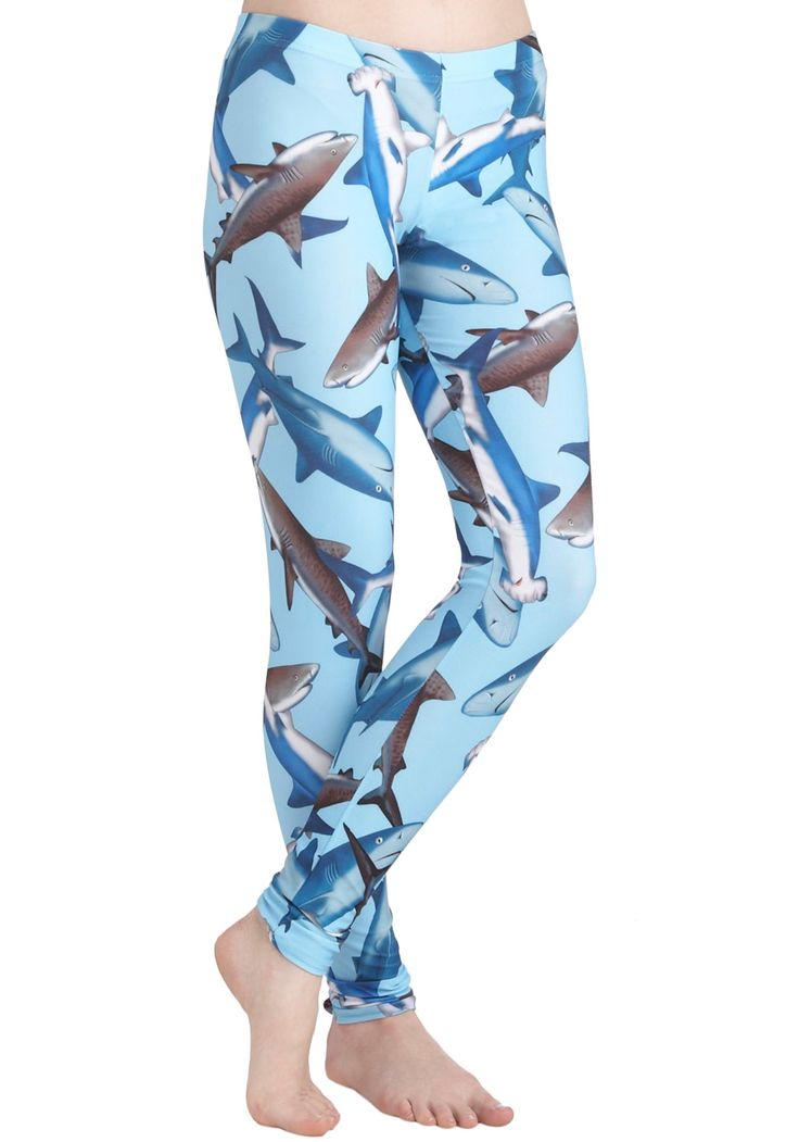 Fresh Take Leggings in Sharks - Blue, Multi, Print with Animals, Casual, Quirky, Skinny, Nautical, Top Rated