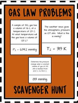 Get your students engaged by completing these 20 gas law problems. The scavenger hunt gets your students moving and breaks up the routine of using worksheets.This product includes the following topics:Boyle's Law Problems  Charles's Law Problems Gay-Lussac Problems Combined Gas Law Problems Gas Conversions You might also enjoy these other scavenger hunt activities: Molar Mass Scavenger HuntAtomic Structure Scavenger HuntScavenger Hunt BUNDLE: Speed, Velocity, Acceleration, Newton's 2nd Law…