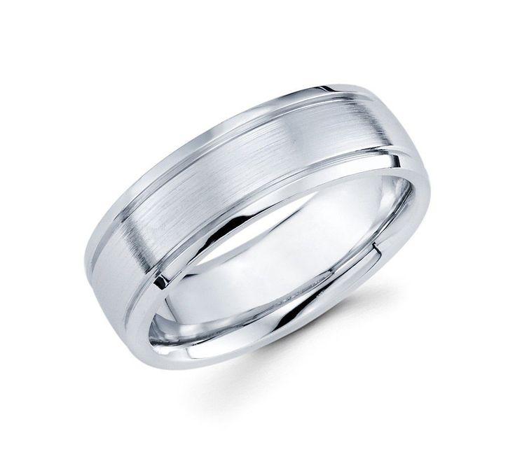 14K White Gold with Diamond Cut Two Lines Design Satin Finish 7mm Wedding Band for Men #weddingbandsformen