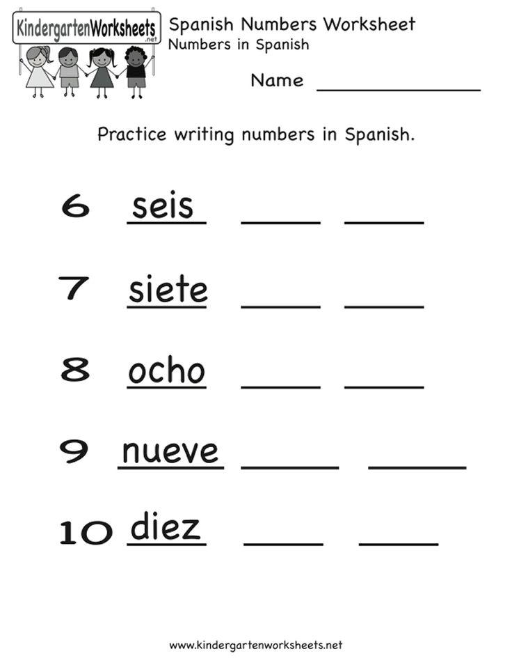 spanish worksheets for kindergarten spanish number worksheet spanish worksheets for kids. Black Bedroom Furniture Sets. Home Design Ideas