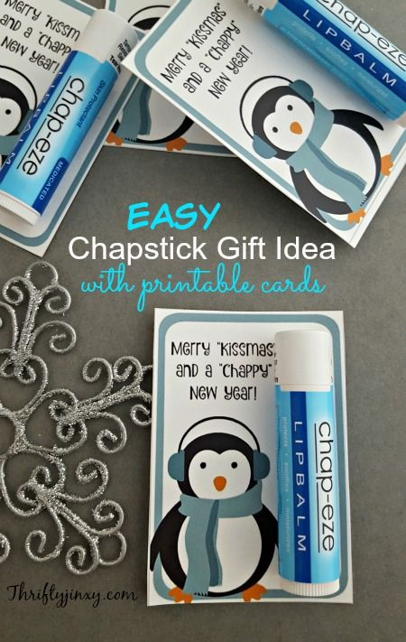 This Easy Chapstick Gift Idea with Printable Cards is perfect for classmates, co-workers, friends and stocking stuffers.