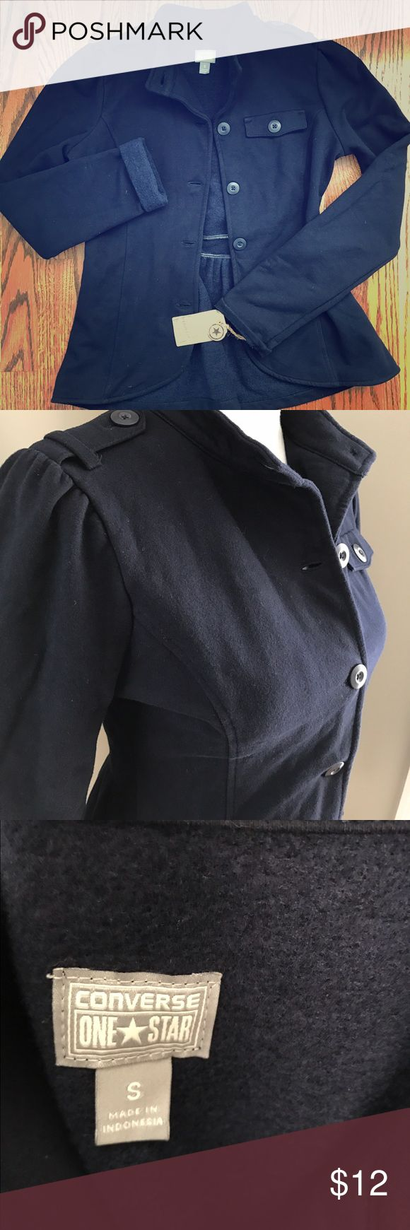 NWT Converse one star navy fleece jacket Sz small Super cute navy fleece Converse One Star jacket. Military style. Cute Ruffle peplum back. Long sleeve. Size small. Button front. converse one star Jackets & Coats