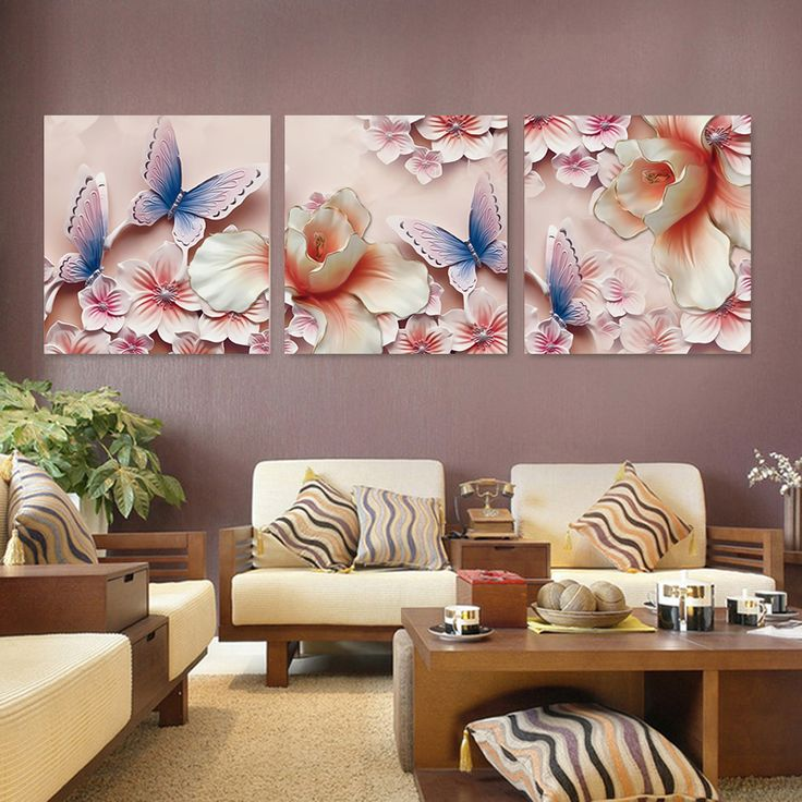 3D Flower For Living Room Canvas Prints With Different Sizes At Competitive Price Your