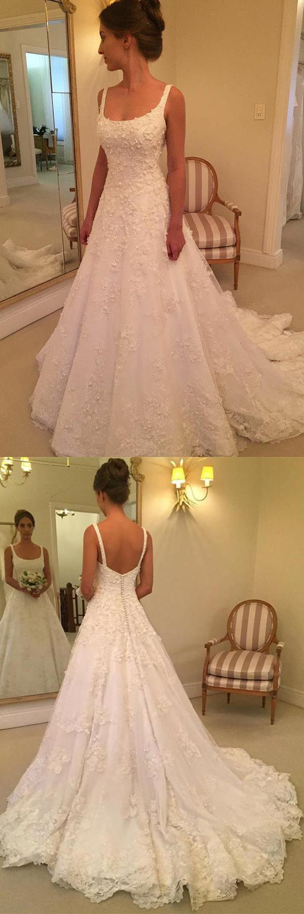 A-line Scoop Sweep Train Sleeveless Wedding Dress with Appliques WD218 #weddings #weddinggowns #lace #a-line #ivory #pgmdress #weddingdress #sweeptrain #weddingdresses #laceweddingdresses
