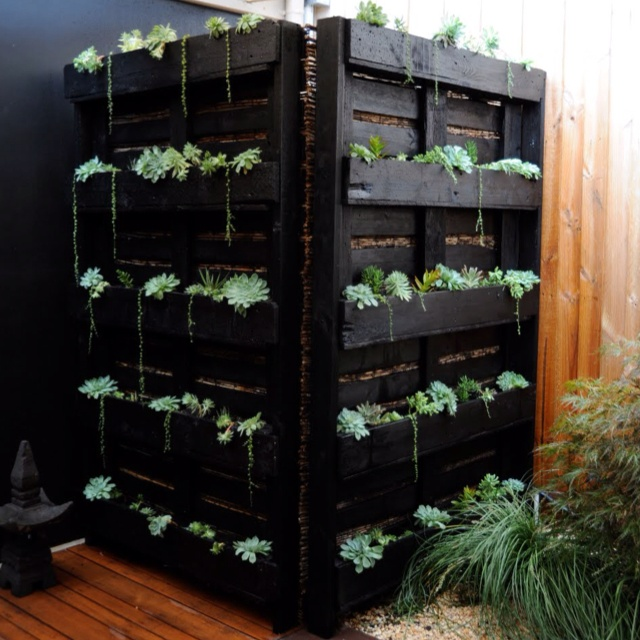 Pallet garden painted black and used to hide water heater