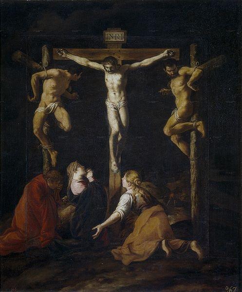 Pedro de Orrente, La crucifixión, óleo sobre lienzo (153x128 cm.) Madrid, Museo del Prado.