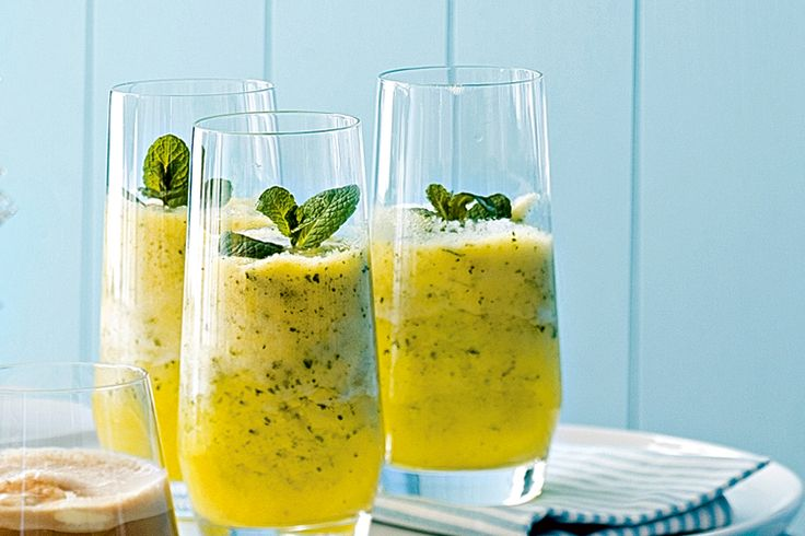 Pineapple and mint frappe http://www.taste.com.au/recipes/15061/pineapple+and+mint+frappe