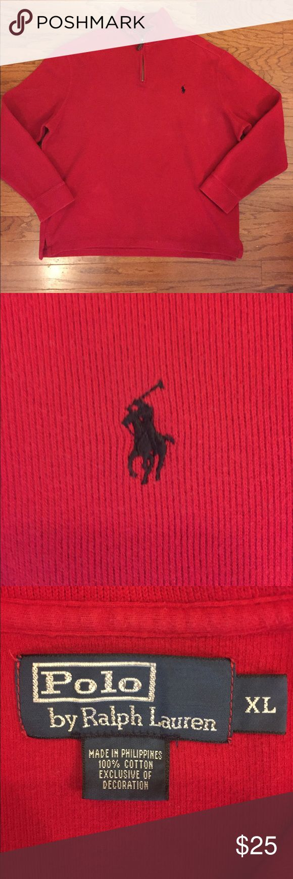 "Ralph Lauren Polo Pullover Good condition, gently worn, extremely small discoloration towards bottom of shirt (as seen in pic) not noticeable when wearing, otherwise in very good condition, dark red color, with a black Polo horse logo, 100% cotton material, men's size x-large, measures about 26 1/2"" pit to pit, 29"" top to bottom and  25"" shoulder to cuff, very classic style pullover. Polo by Ralph Lauren Sweaters"