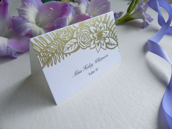Floral Illustration Wedding Place Cards by WhiteGownInvitations