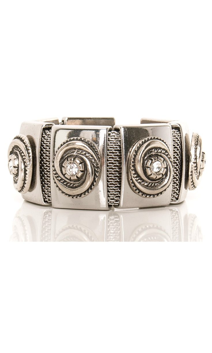 Nanni Bracelet - metal bangle and swarovski details #accessories