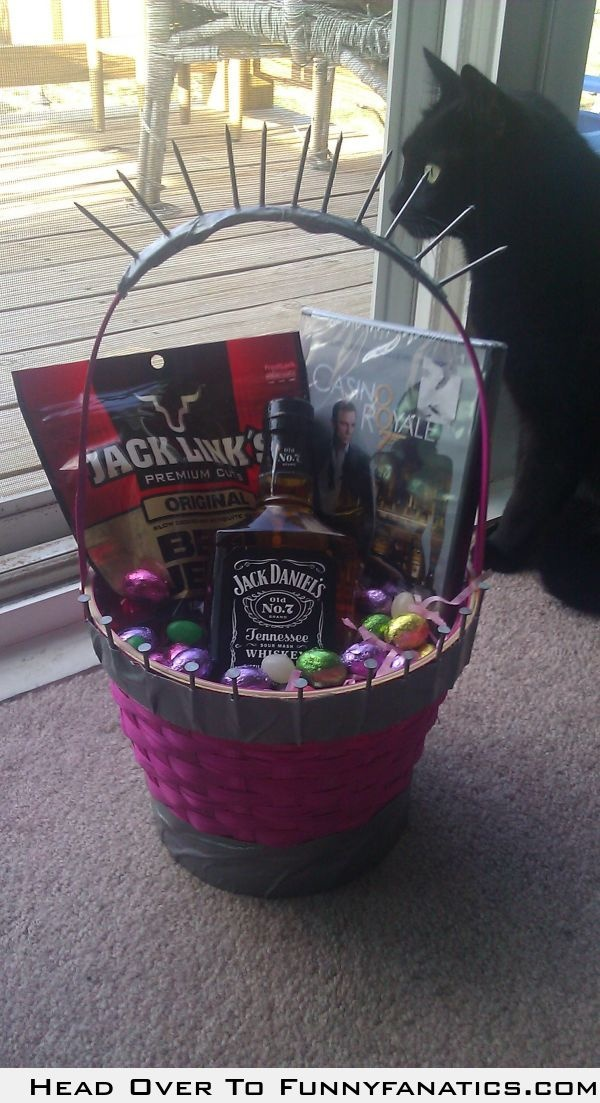 764 best easter images on pinterest basket ideas gift basket my fianc decided to man up his pink easter basket for the family negle Image collections