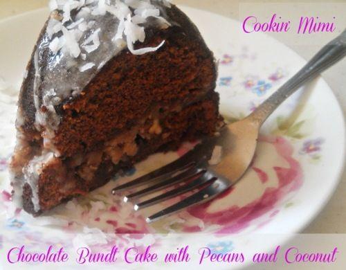 Chocolate Bundt Cake with Pecans and Coconut: Secret Recipe Club
