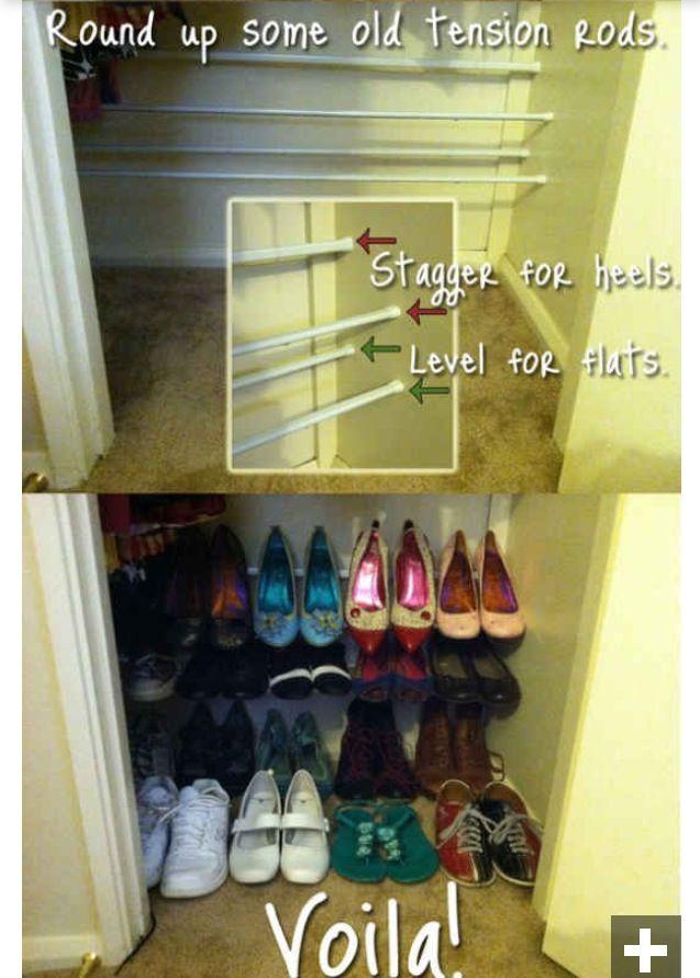 Shoe storage using tension rods 76 best