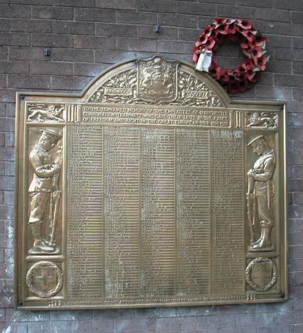 War Memorial Plaque WW1 - Tramways Dept. Hyde Road, Gorton, Manchester. My grandfather's name Herbert Winterburn is on this plaque.
