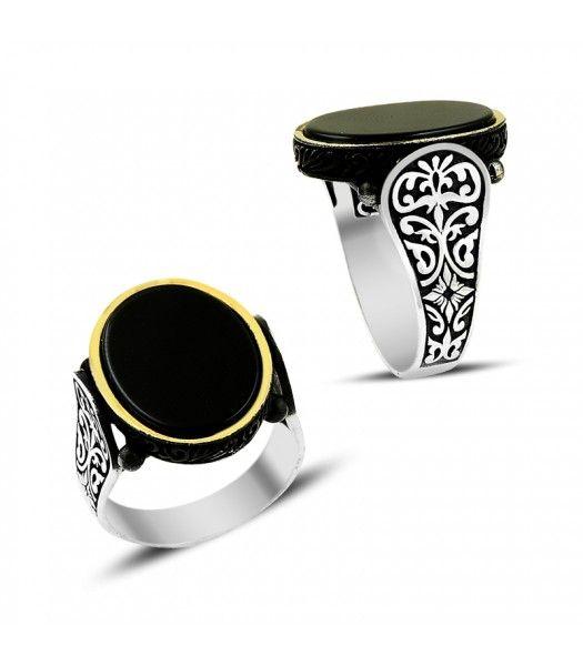 Gümüş Onix Taşlı Erkek Yüzüğü EY650