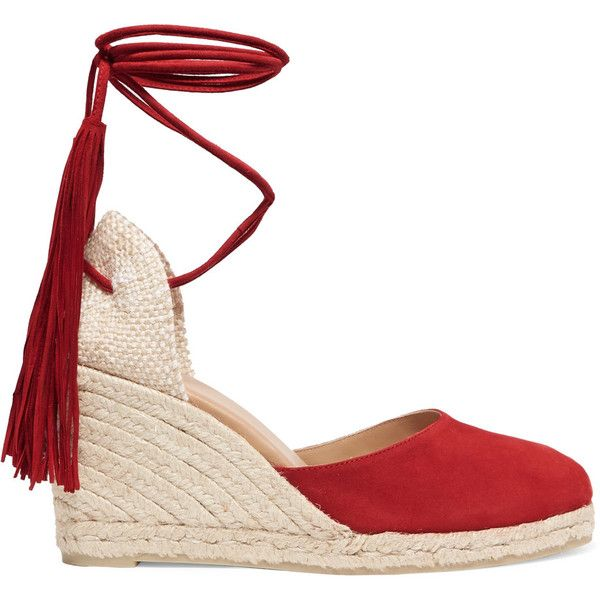 Castañer Carina fringed suede wedge espadrilles found on Polyvore featuring shoes, sandals, heels, wedges, espadrille wedge sandals, suede sandals, heeled sandals, fringe heel sandals and wedge espadrilles