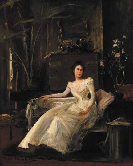 Munkácsy Mihály (1844-1900) - Fehér ruhás hölgy