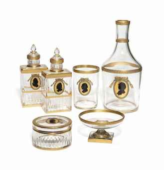 A LOBMEYR GILT GLASS DRESSING TABLE SET  EARLY 20TH CENTURY, GILT MARKS  Price realised  GBP 2,375