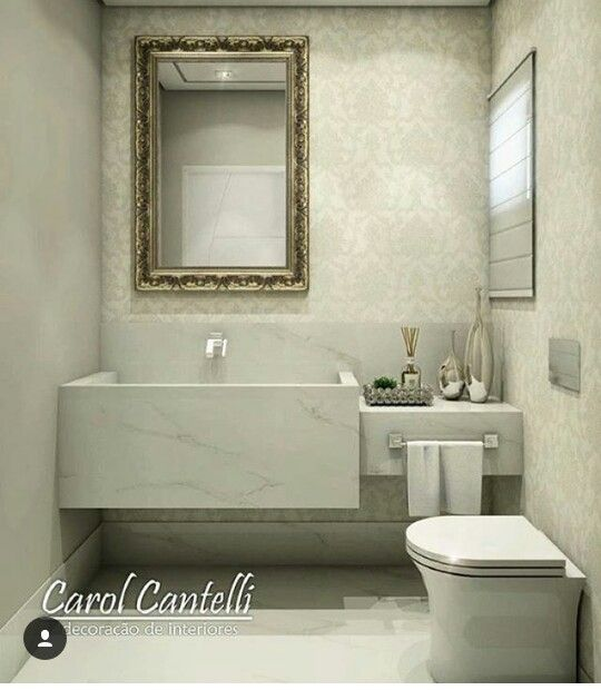 Um banheiro pequeno mais super sofisticado, em cores neutras que dá pra jogar -> Banheiro Pequeno Sofisticado