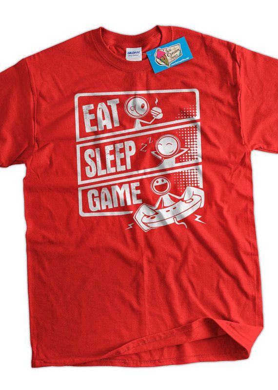 Video Game T-Shirt Gaming T-Shirt Eat Sleep Game T-Shirt Screen Printed T-Shirt Tee Shirt T Shirt Mens Ladies Womens Youth Kids