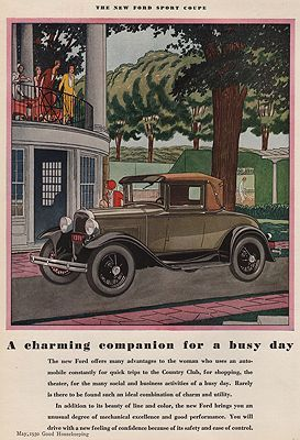 James Ford Of Williamson >> Orig Vintage Magazine Ad 1930 Ford Sport Coupe Illustrator
