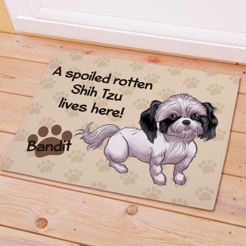 Personalized Shih Tzu Spoiled Here Doormat