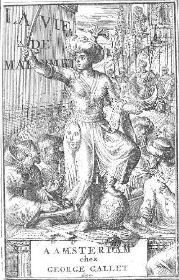 Изображения Мухаммеда на протяжении всей историиЭто показывает, Мохаммед держит меч и полумесяца в то время как попрание шара, креста, и десять заповедей. Смерть Магомета;