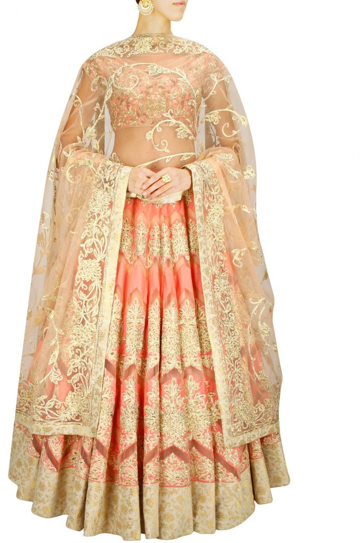 DIVA'NI Peach with gold resham embroidered lehenga set Product Code - DIVC2T10141463 Price - S$ 2,101